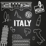 Italy travel background. Famous places and symbols of Italy on chalkboard. Outline icons Royalty Free Stock Image
