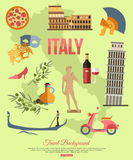 Italy travel background with place for text. Set. Of colorful flat icons, Italy symbols for your design. Vector illustration royalty free illustration