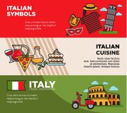 Italy travel destination posters with national symbols and cuisine. Architectural attractions, famous Italian pizza and delicious food. Journey to European Royalty Free Stock Photo