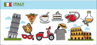 Italy travel destination promotional poster with cultural symbols Stock Image