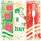Italy travel grunge card with national italian food Stock Images