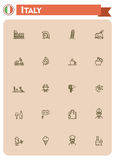 Italy travel icon set. Set of the Italy traveling related icons Royalty Free Stock Photo