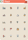 Italy travel icon set. Set of the Italy traveling related icons Royalty Free Stock Photos