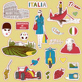 Italy travel icons. Set of the doodle sketches. Italy travel icons Royalty Free Stock Images