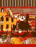 Italy travel illustration. Scene on Venice Canal. Composite of stamps and Italian scenery Royalty Free Stock Photography