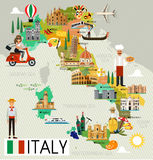 Italy Travel Map. Map of Italy and Travel Icons.Italy Travel Map. Vector Illustration stock illustration
