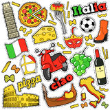 Italy Travel Scrapbook Stickers, Patches, Badges for Prints with Pizza, Venetian Mask, Architecture and Italian Elements Royalty Free Stock Photos