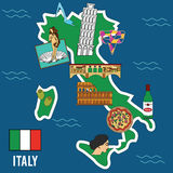 Italy travel set. Famous places and symbols of Italy Royalty Free Stock Images