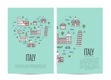 Italy travel tour booklet set in linear style Stock Image