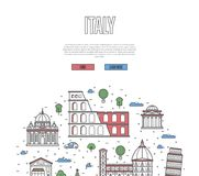 Italy travel tour poster in linear style Stock Images