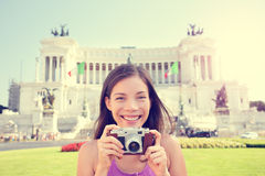 Italy travel - tourist girl taking photos in Rome Royalty Free Stock Photos