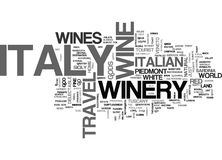 Italy Travel Winery Word Cloud Concept Stock Image