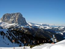 Italy, Trentino, Dolomites, view of flat sauce, Sasso Piatto, and cable car on the ski slope stock photo