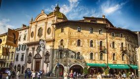 Italy,Trento. Piazza Duomo, House of Rella with frescoes(Case Rella frescoes royalty free stock photos