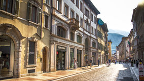 Italy,Trento. Streets of old town in the sunset stock image