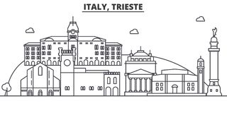 Italy, Trieste architecture line skyline illustration. Linear vector cityscape with famous landmarks, city sights Stock Images