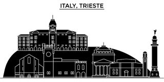 Italy, Trieste architecture vector city skyline, travel cityscape with landmarks, buildings, isolated sights on. Italy, Trieste architecture vector city skyline Royalty Free Stock Photography
