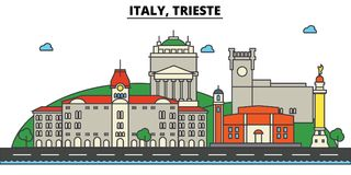 Italy, Trieste. City skyline architecture . Editable. Italy, Trieste. City skyline architecture, buildings, streets, silhouette, landscape, panorama landmarks Royalty Free Stock Photo
