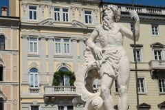 Italy, Trieste, Piazza della Borsa, the fountain of Neptune Royalty Free Stock Images