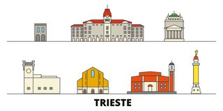 Italy, Trieste flat landmarks vector illustration. Italy, Trieste line city with famous travel sights, skyline, design. Italy, Trieste flat landmarks vector stock illustration