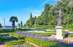 Trieste, the architectures and arts. Italy, Trieste, the garden of the Miramare castle on the seafront Stock Photo
