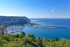 Trieste, the architectures and arts. Italy, Trieste, panoramic view of the Sistiana marina Stock Photos