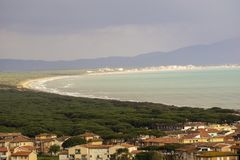 Italy, Tuscany, Castiglione della Pescaia, panoramic view of the coastline from the top. Tuscany, Castiglione della Pescaia, panoramic view of the coastline from stock photography
