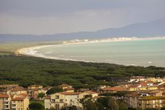 Italy, Tuscany, Castiglione della Pescaia, panoramic view of the coastline from the top. Tuscany, Castiglione della Pescaia, panoramic view of the coastline from royalty free stock image