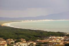 Italy, Tuscany, Castiglione della Pescaia, panoramic view of the coastline from the top. Tuscany, Castiglione della Pescaia, panoramic view of the coastline from stock photo