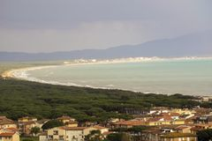 Italy, Tuscany, Castiglione della Pescaia, panoramic view of the coastline from the top. Tuscany, Castiglione della Pescaia, panoramic view of the coastline from royalty free stock images