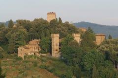 Italy, Tuscany, Chianti zone, Panzano in CHianti village. Italy, Tuscany, Chianti zone, Panzano in CHianti village and old house in the bush stock photos