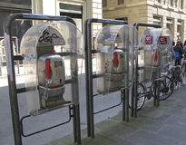 Italy, Tuscany, city of Florence. Telephone booths Stock Photography