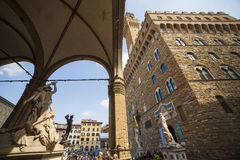 Italy, Tuscany, Florence. The Palazzo Vecchio and Lanzi lodge, the town hall of city and old residence of Medici family Stock Photography