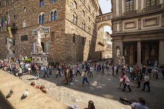 Italy, Tuscany, Florence. The Palazzo Vecchio and Lanzi lodge, the town hall of city and old residence of Medici family Royalty Free Stock Photography