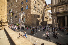Italy, Tuscany, Florence. The Palazzo Vecchio and Lanzi lodge, the town hall of city and old residence of Medici family Royalty Free Stock Images