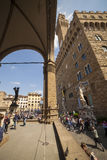 Italy, Tuscany, Florence. The Palazzo Vecchio and Lanzi lodge, the town hall of city and old residence of Medici family Royalty Free Stock Photo