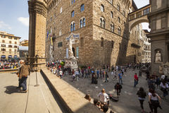 Italy, Tuscany, Florence. The Palazzo Vecchio and Lanzi lodge, the town hall of city and old residence of Medici family Stock Image