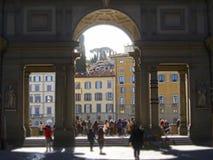 Italy, Tuscany, Florence, the Uffizi square and Building museum. Italy, Tuscany, Florence, the Uffizi square and Building museum and tourists in the street Royalty Free Stock Photo