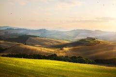 italy Tuscany jordbruksmark och Rolling Hills; sommarbygdLa royaltyfria bilder