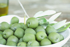 Italy, Tuscany, Magliano, Close up of green olives in plate Royalty Free Stock Photos