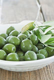 Italy, Tuscany, Magliano, Close up of green olives in plate Royalty Free Stock Photography