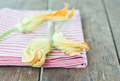 Italy, Tuscany, Magliano, Close up of zucchini flower with napkin on wooden table Royalty Free Stock Images