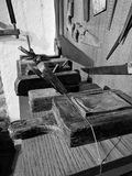 Old carpenter`s tools, on display, inside the Minucciano museum stock images