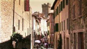 Italy, tuscany, montalcino street. Tuscany, Montalcino cityscape montalcino street stock footage
