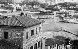 Italy. Tuscany. Montepulciano. In black and white toned. Retro s Stock Image