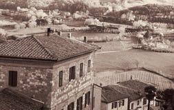 Italy. Tuscany. Montepulciano. In Sepia toned. Retro style Stock Photos