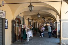Italy, Tuscany, the province of Florence, Greve in Chianti. A portico of the town royalty free stock photos