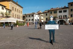 Italy, Tuscany, the province of Florence, Greve in Chianti, the town square. Italy, Tuscany, the province of Florence, Greve in Chianti, pedestrian oasis in the royalty free stock images
