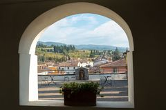 Italy, Tuscany, province of Florence, Greve in chianti, view of la valle. From a belvedere window stock photo
