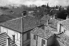 Italy. Tuscany region. Montepulciano. In black and white toned. Royalty Free Stock Photos